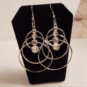 NWOT - Geometric Rhinestone Silvertone Earrings